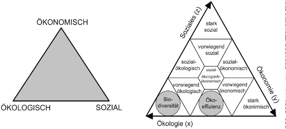 """Das """"magische Dreieck"""" der Nachhaltigkeit und die Integration starker und schwacher Nachhaltigkeit"""