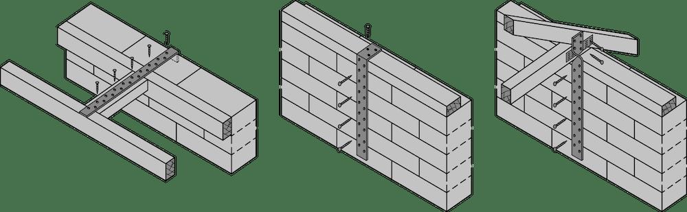 Beispiele von horizontalen und vertikalen Zugbändern – ÖNORM EN 845-1
