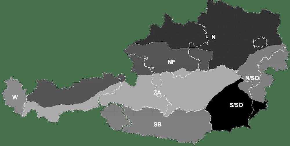 Klimazonen Österreichs laut ÖNORM B 8110-5