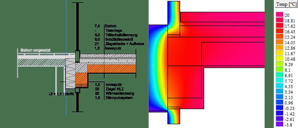 Anschlussdetail 4 und 5 – Anschluss Terrassentüren oben und unten