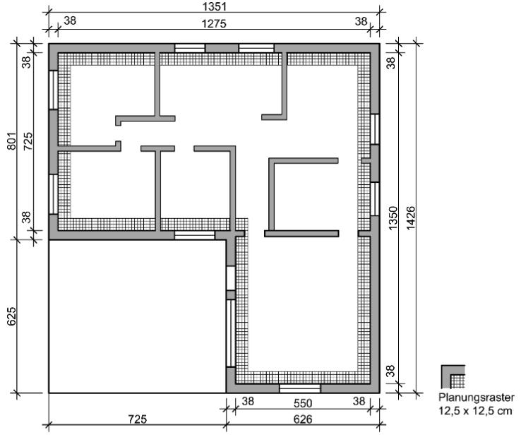 Beispiel 7-01: Objektgrundriss mit Planungsraster 12,5×12,5 cm