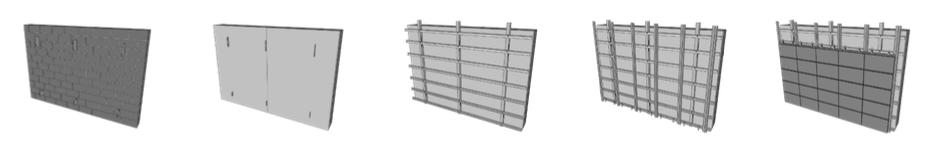 Beispiel 7-11: Montageablauf hinterlüftete Ziegel-Fassadenplatten mit horizontalen Tragschienen
