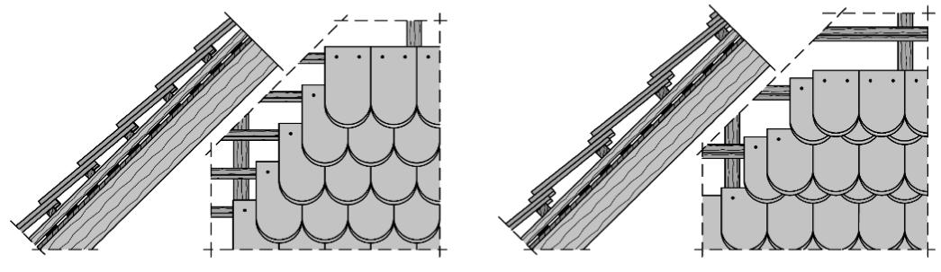 Abbildung 7-20: Doppeldeckung und Kronendeckung mit Biberschwanzziegeln