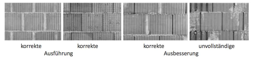 Beispiel 7-16: Hochlochziegelmauerwerk als Putzgrund korrekte korrekte Ausführung korrekte unvollständige Ausbesserung