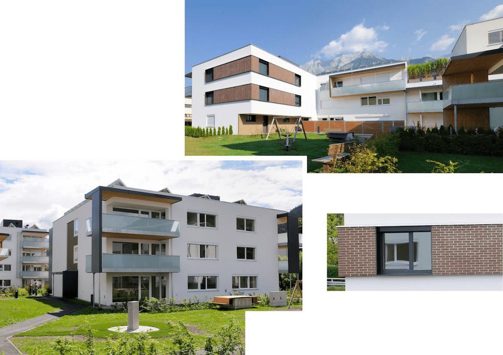 """TQ-zertifizierte Wohnhausanlage """"Sieglanger"""" Innsbruck Architektur: Scharmer-Wurnig-Architekten ZT GmbH (Innsbruck) Hochlochziegel mit Kerndämmung und Ziegelvormauerung bzw. WDVS, Bodenklinker"""