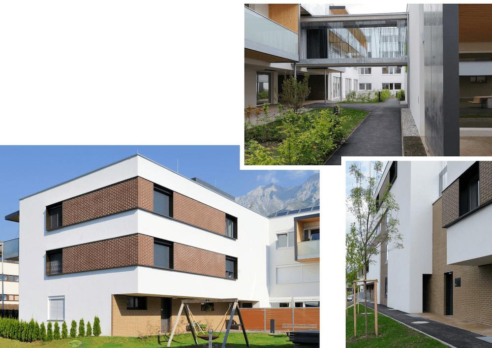 """TQ-zertifizierte Wohnhausanlage """"Sieglanger"""" Innsbruck (Fortsetzung) Architektur: Scharmer-Wurnig-Architekten ZT GmbH (Innsbruck) Hochlochziegel mit Kerndämmung und Ziegelvormauerung bzw. WDVS, Bodenklinker"""