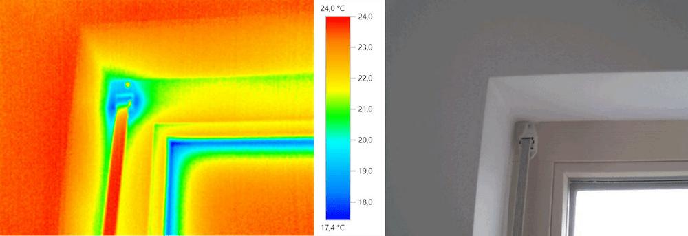 Thermografie – Fenstersturz und Rollladenzug (Außentemperatur +5 °C)