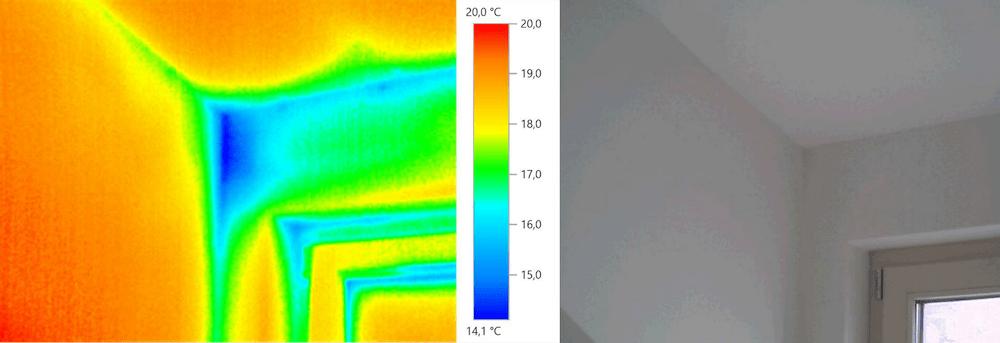 Thermografie – Fenster, Fenstersturz, Raumaußenecke (Außentemperatur +5 °C)