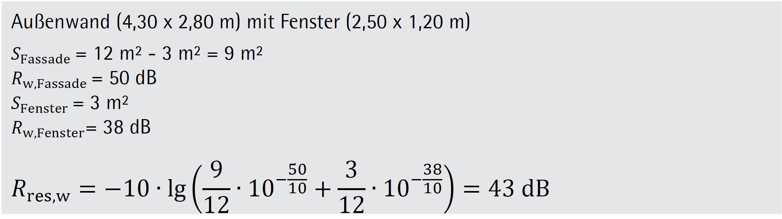 Beispiel 3-04: Ermittlung resultierendes Schalldämm-Maß