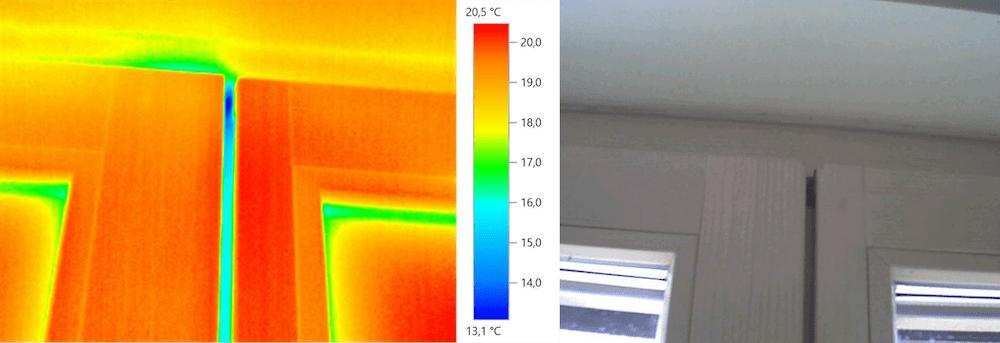 Beispiel 4-07: Thermografie – Stulpprofil, Fensterflügel (Außentemperatur +5 °C)