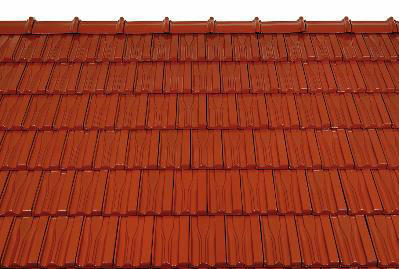 Bild 7-74 bis 76: Ziegeldeckung – Dachziegel Landdach natur/dunkelbraun/rot