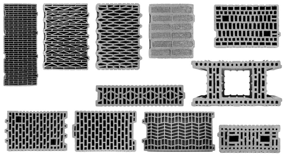 Mauerziegel für geschütztes Mauerwerk (P-Ziegel) 2|1|2|2 Hochlochziegel, Planziegel Beispiel 2-02: Typische Lochbilder Hochlochziegel