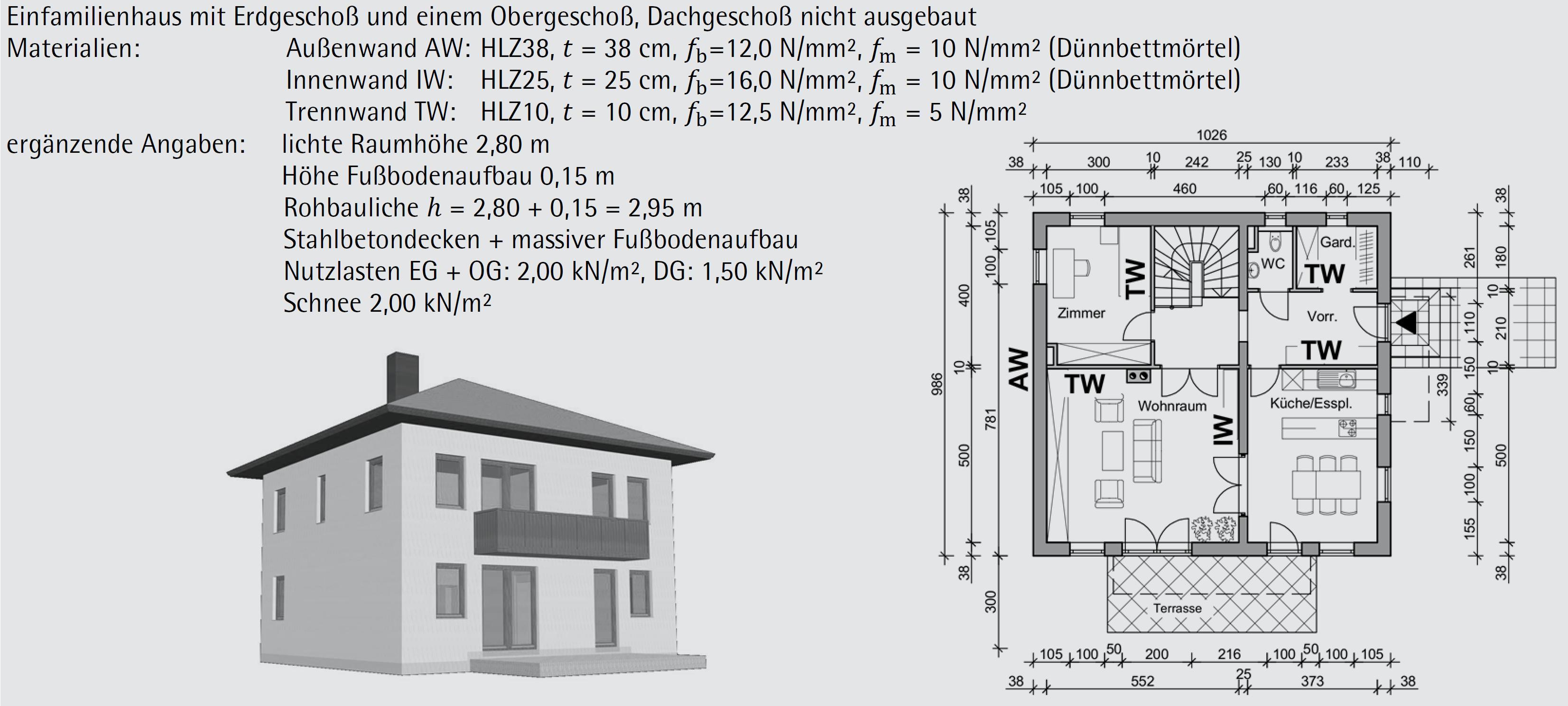 Beispiel 6-02: vereinfachter vertikaler Bemessungsnachweis – ÖNORM EN 1996-3 (Teil 1/2)