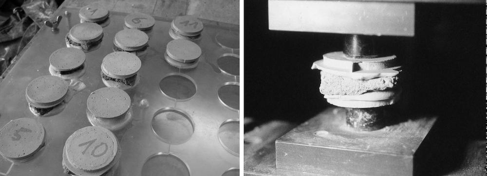 Mörtelproben und Stempeldruckprüfung