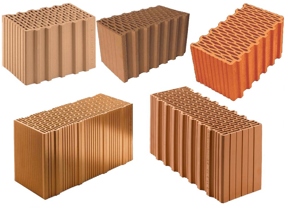 Hochlochziegel mit Wanddicken von 40 bis 50 cm