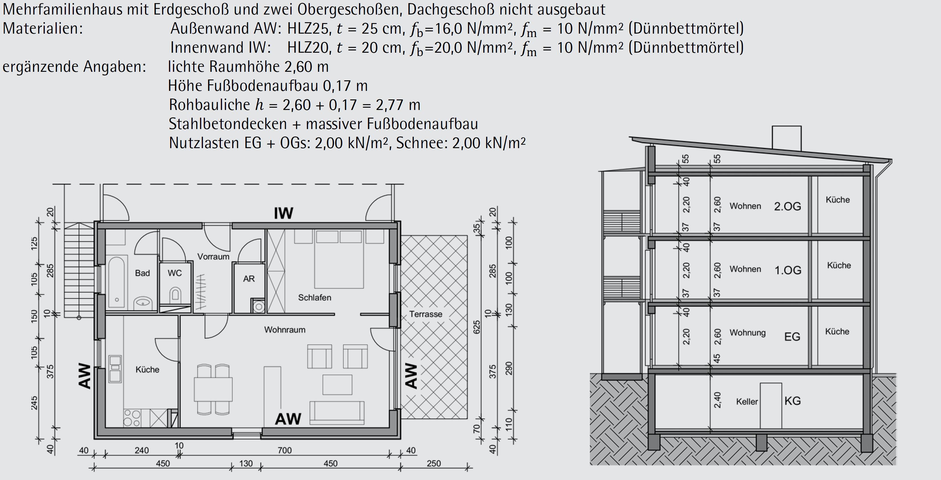 Beispiel 6-03: vereinfachte vertikale Berechnungsmethode – ÖNORM EN 1996-3 (Teil 1/3)