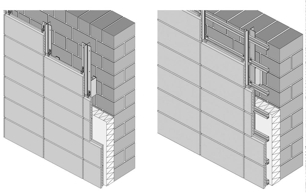 Abbildung 7-04: Montageformen von Ziegel-Fassadenplatten mit vertikalen Tragschienen mit horizontalen Tragschienen