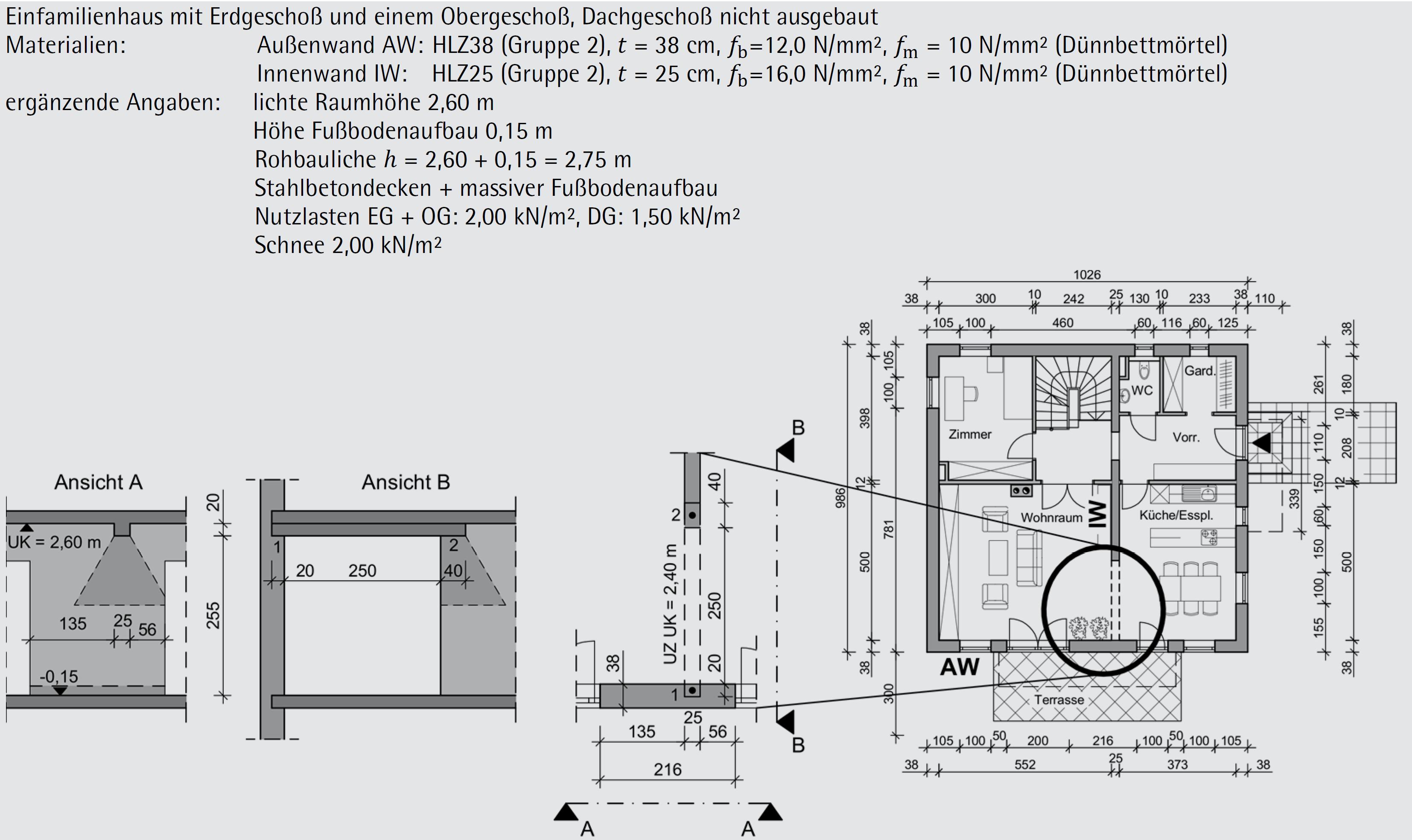 Beispiel 6-05: Teilflächenpressung – Nachweis nach ÖNORM EN 1996-3 (Teil 1/3)